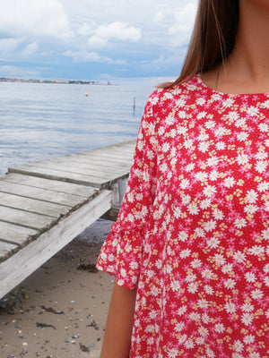Load image into Gallery viewer, SOLVEJ-DRESS - RED FLOWER
