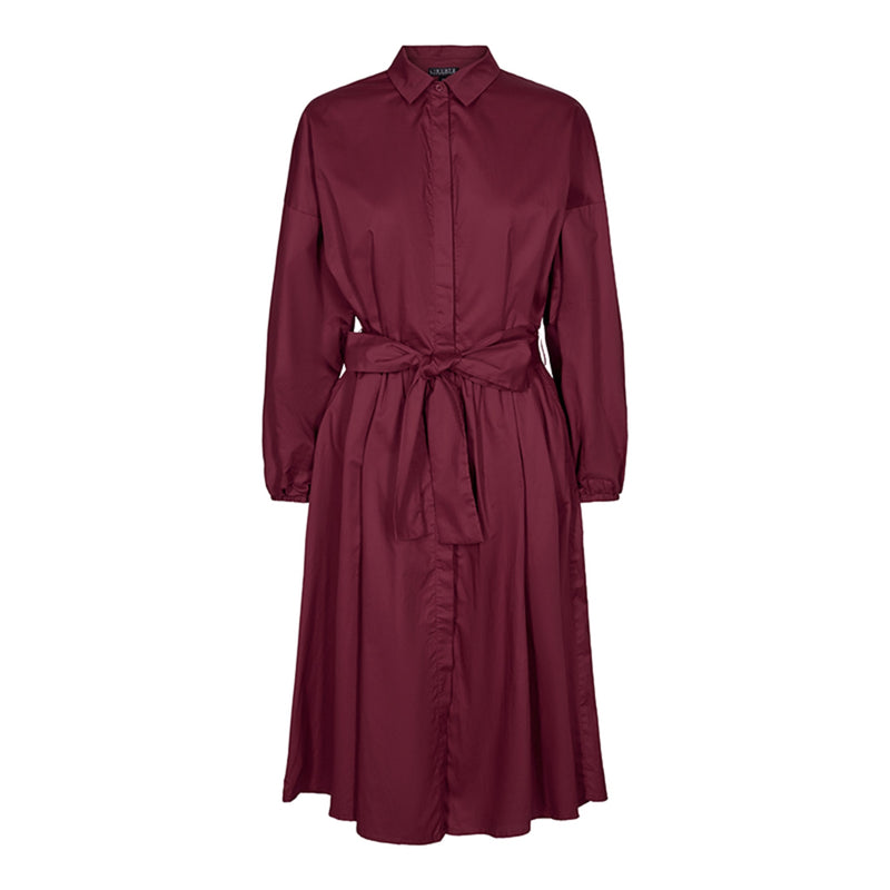 KATIE-SHIRT-DRESS - BURGUNDY