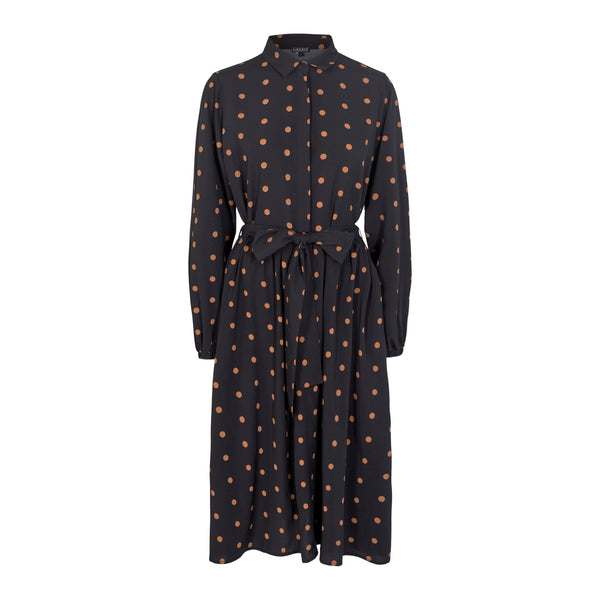 KATIE-SHIRT-DRESS - BLACK/BROWN DOT