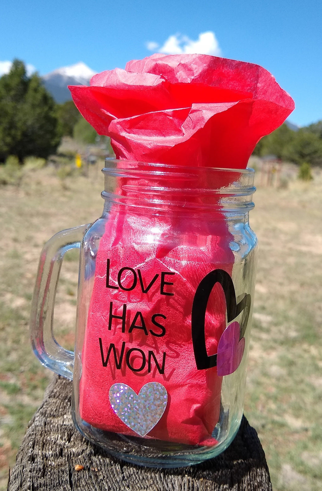 "Gaia's Glasses Sparkle Dream Collection- ""LoveHasWon/JoyReigns"" Jar Mug - Gaia's Whole Healing Essentials"