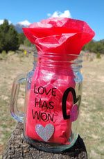 "Gaia's Glasses Sparkle Dream Collection- ""LoveHasWon/JoyReigns"" Jar Mug"