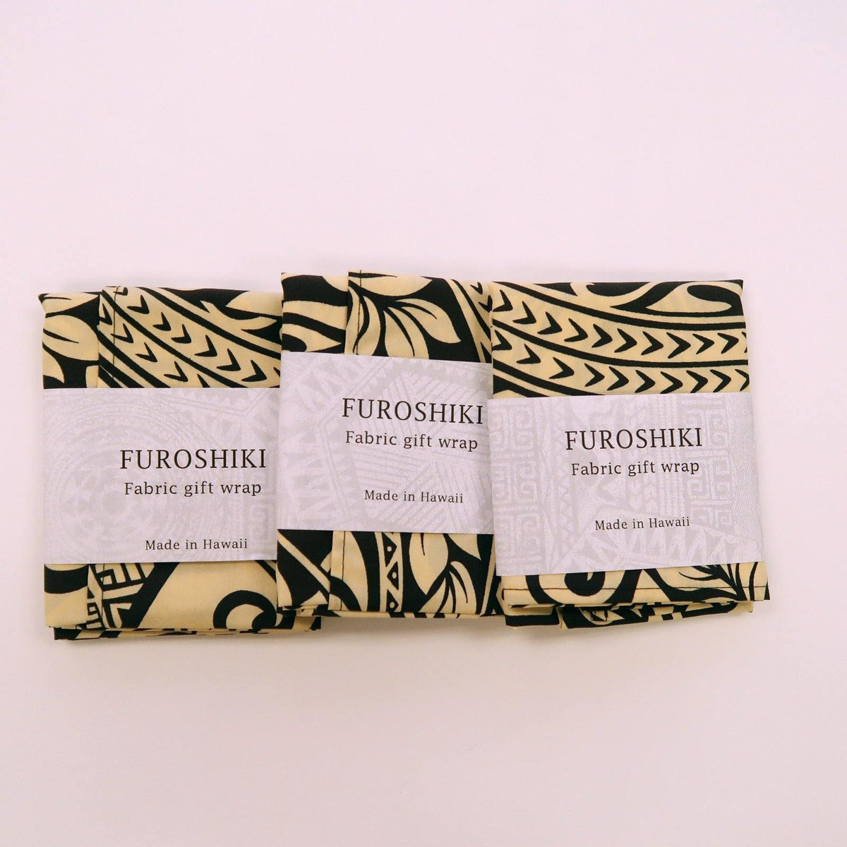 Beige Tapa Print Gift Wrap Furoshiki | Eco Wrapping Cloth Small