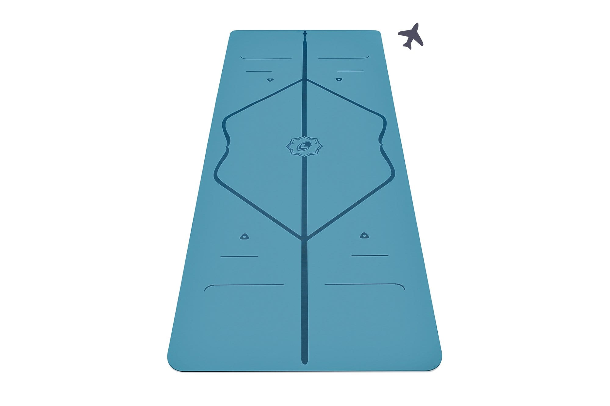 Portrait view of Blue travel Yoga mat from Liforme