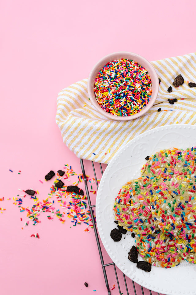 Load image into Gallery viewer, handmade sprinkle birthday cookie with oreos and free shipping in a gift box
