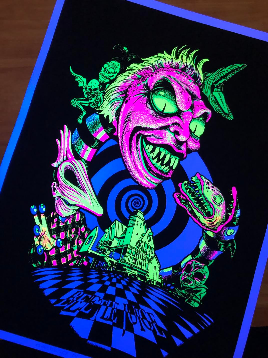 """scratch and dent"" Beetlejuice Blacklight Poster"