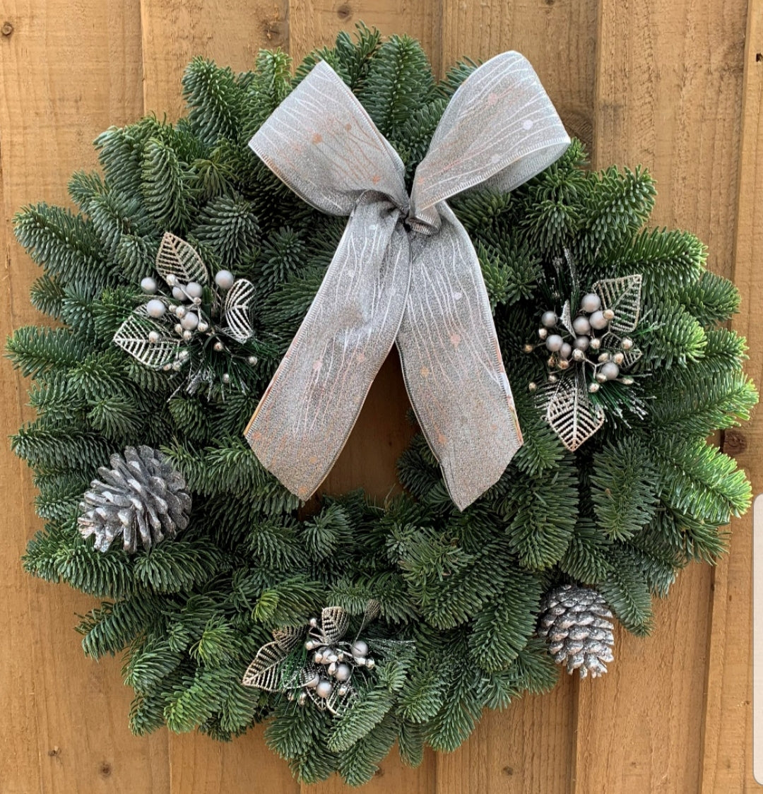 "Wreath - Spruce with Silver Bow and Decorations - 16""   (40 cm)"