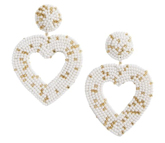 White Beaded Heart Earrings
