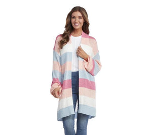 Knit Pink Tone Striped Cardigan