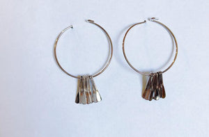 Silver Medium Circle w/Multi Bar Earrings