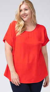 Red Scoop Neck Blouse