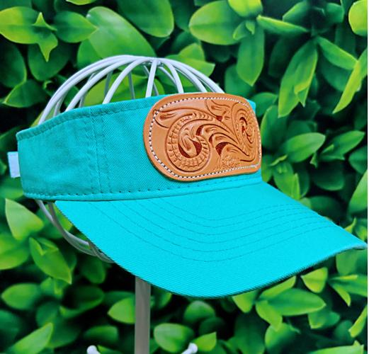 Turquoise Tooled Leather Patch MS Visor