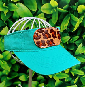 Mint Leopard Leather Patch MS Visor