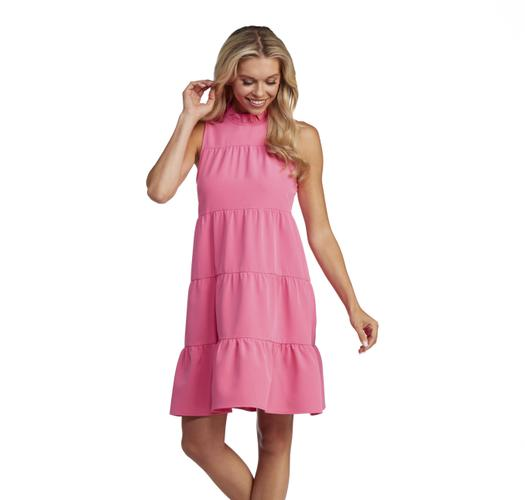 Pink Ruffled Tiered Dress