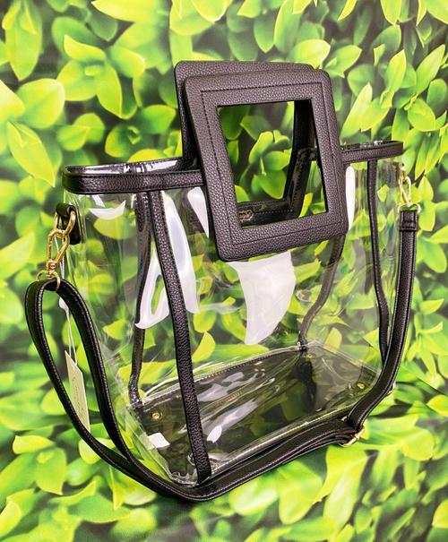 Black Clear Square Handle Tote