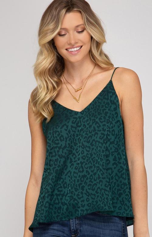 Hunter Green Leopard Camisole