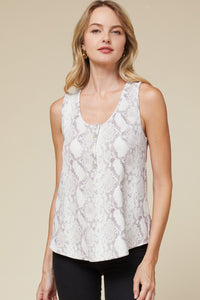 Snake Sleeveless Button Front Top