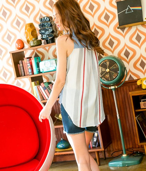 Chambray Twist Knot Button Up Stripe Back Top