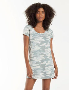 Camo Dusty Sage T-Shirt Dress
