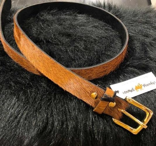 Brown Faux Hair Belt M
