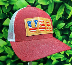 Heather Red USA Leather Patch MS Hat