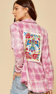 Dusty Rose Embroidered Button Down