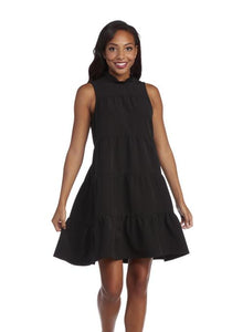 Black Bow Tie Ruffle Tiered Dress