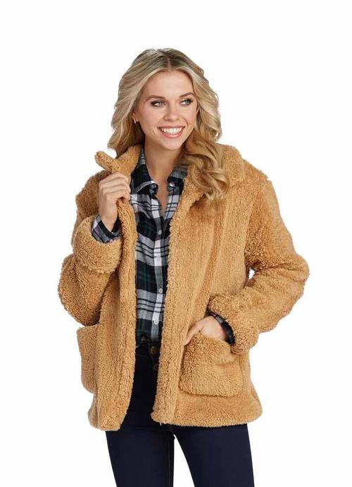 Camel Teddy Jacket with Pockets