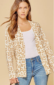 Taupe Leopard Button Down Cardigan