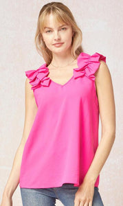 Hot Pink Ruffle Shoulder Blouse
