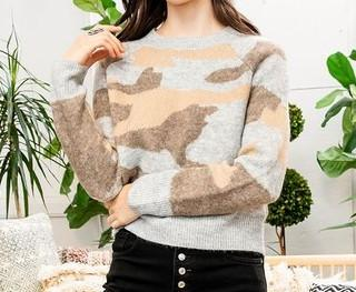 Grey Brown Camo Sweater