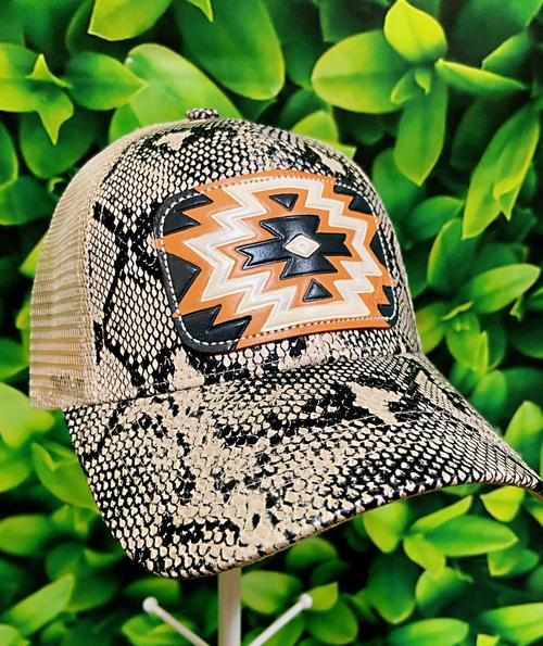 Snake Ponytail Black Aztec Leather Patch MS Hat