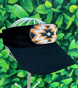 Black White Aztec Leather Patch MS Visor