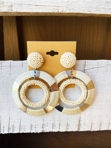 Cream Double Hoop Mixed Material Earrings
