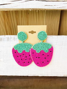 Strawberry Beaded Earrings