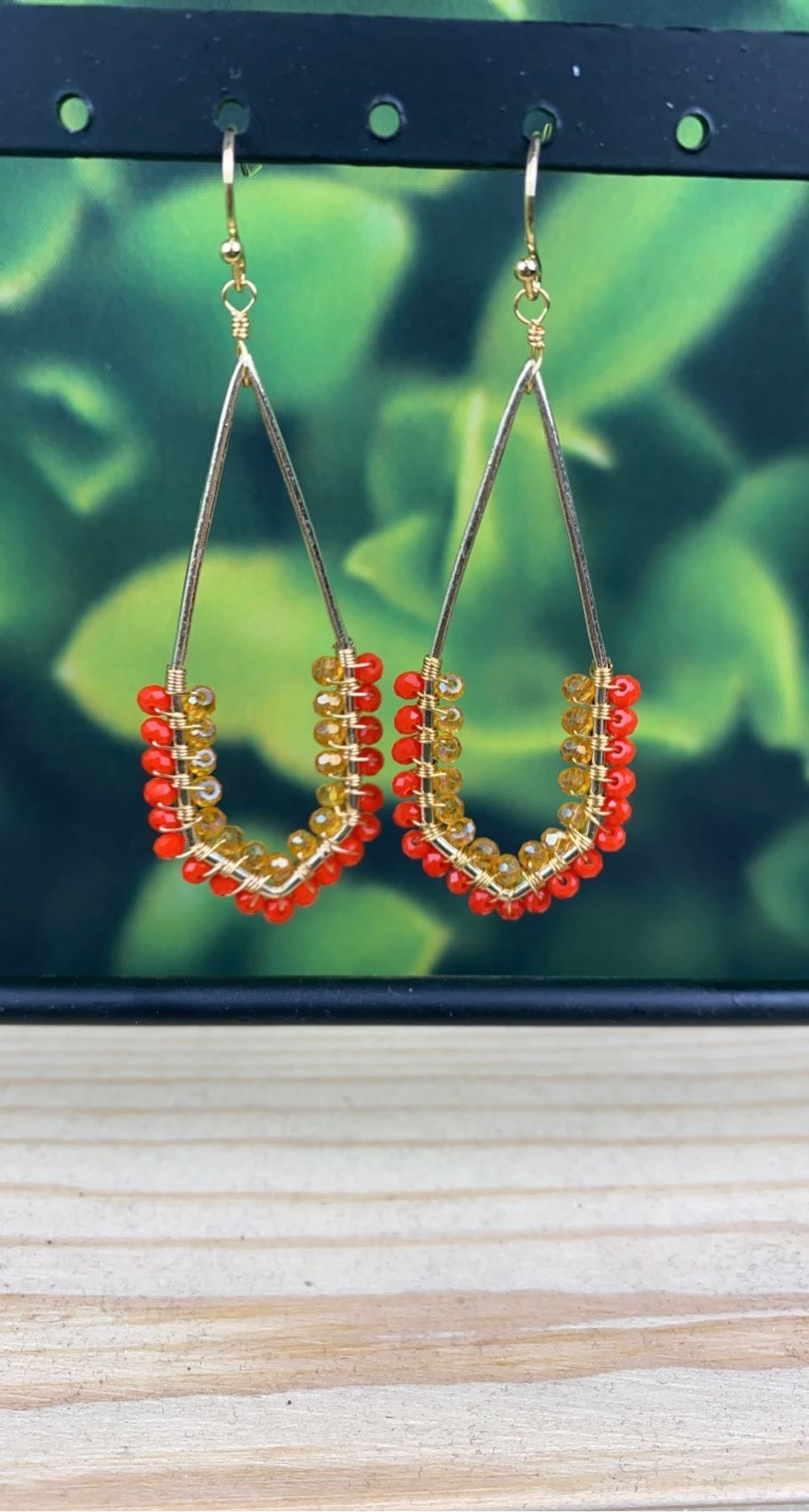 Orange Beaded Marquise Drop Earrings