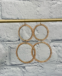 Champagne Beaded Double Hoop