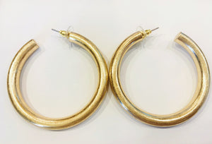 Gold Large Tubular Hoop Earrings