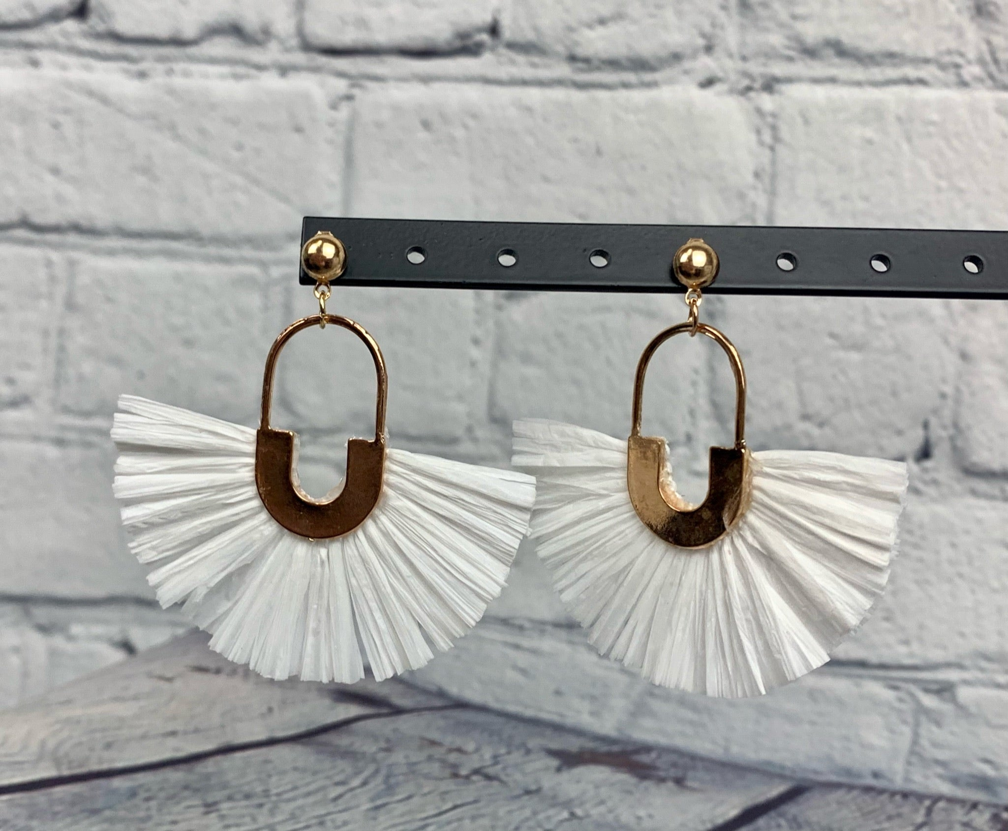 White Raffia Fan Earrings