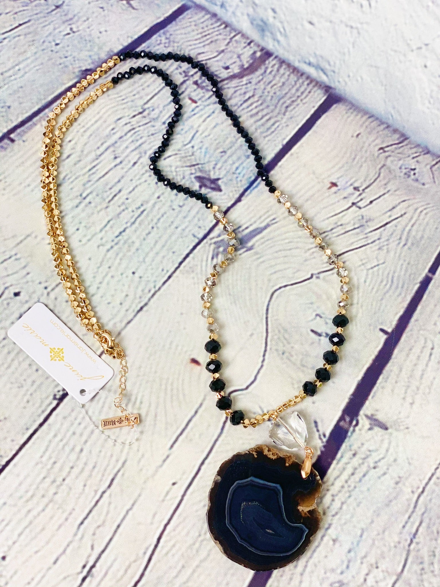 Jet Black Agate Stone Necklace