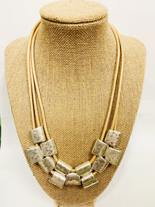 Hammered Silver Gold Leather Necklace Set