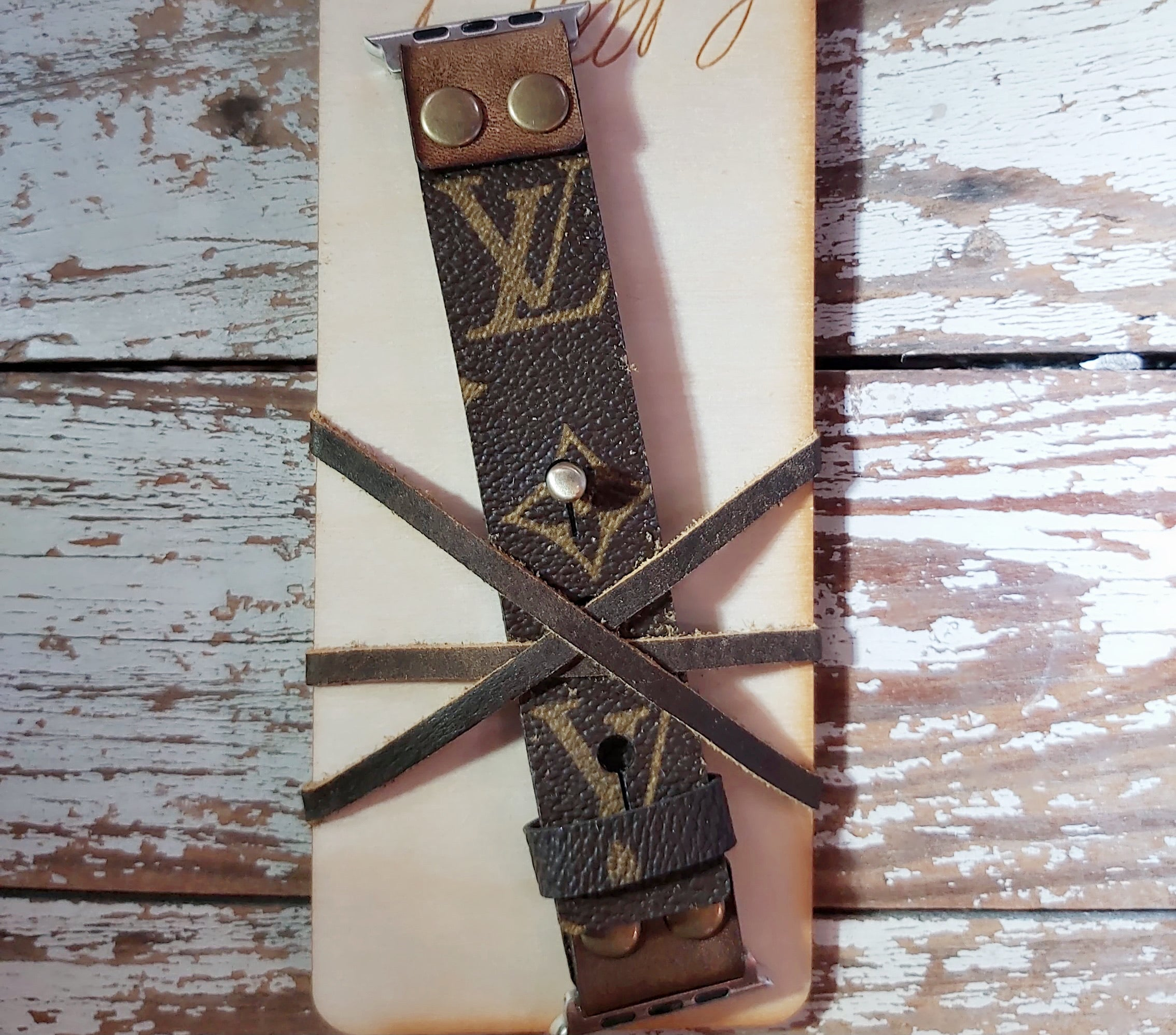 LV Upcycled Apple Watch Band