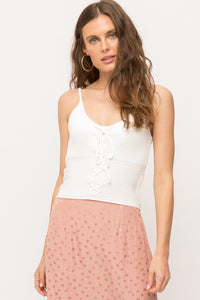 White Cropped Front Lace Up Cami Sweater