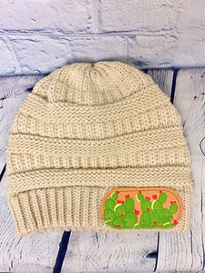 Beige Cactus CC Leather Patch Beanie