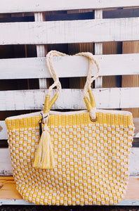 Yellow Cream & Gold Woven Tote