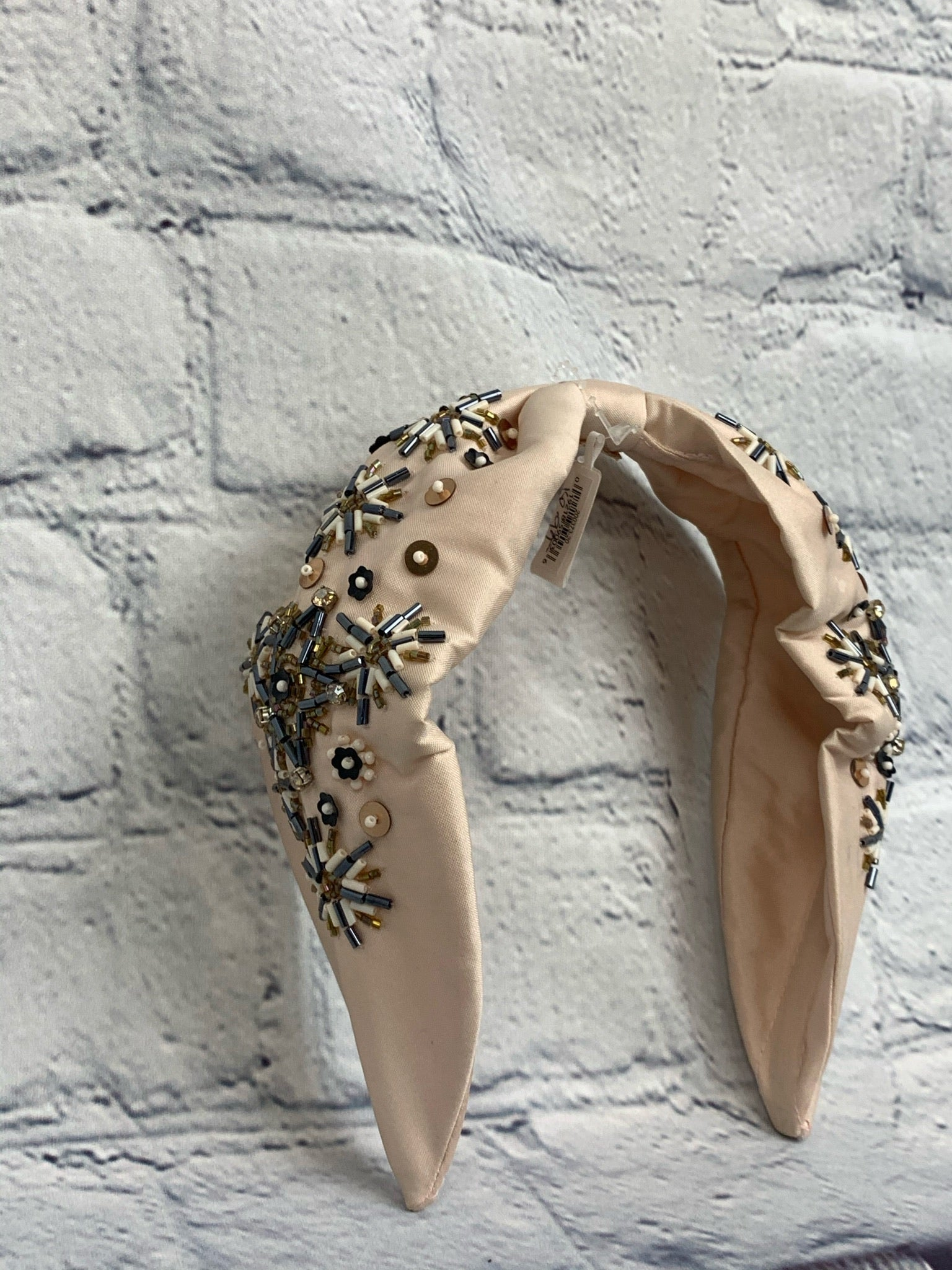 Crystal Beaded Blush Silk Like Headband