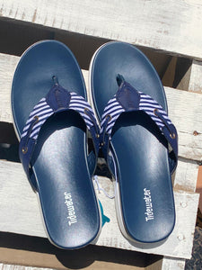 Navy & White Stripe Flip Flops