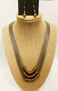 Silver Triple Strand Mesh Chain Necklace Set