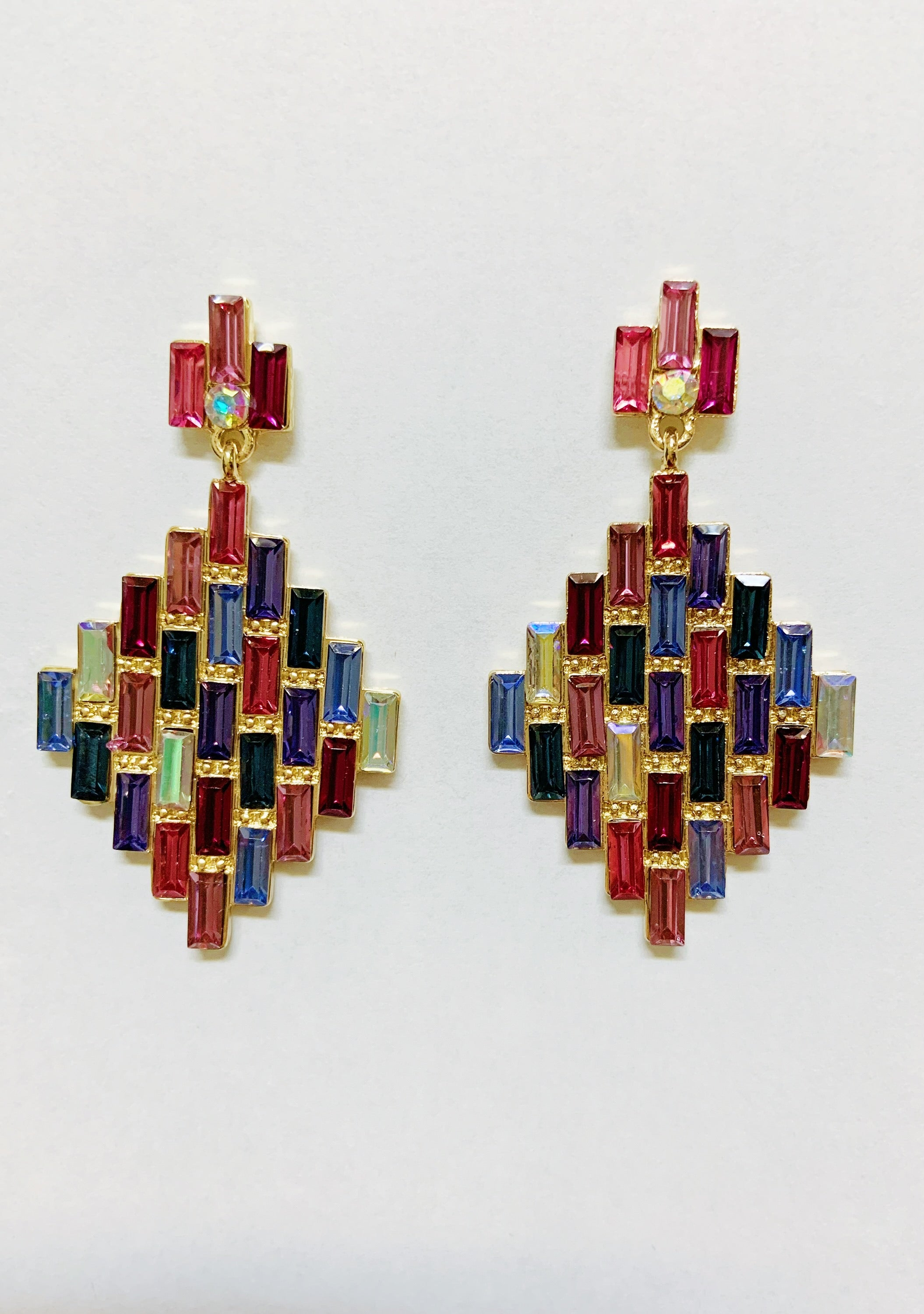 Pink Blue Art Deco Kaleidoscope Earrings