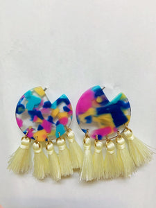 Multi Resin Tassel Earrings