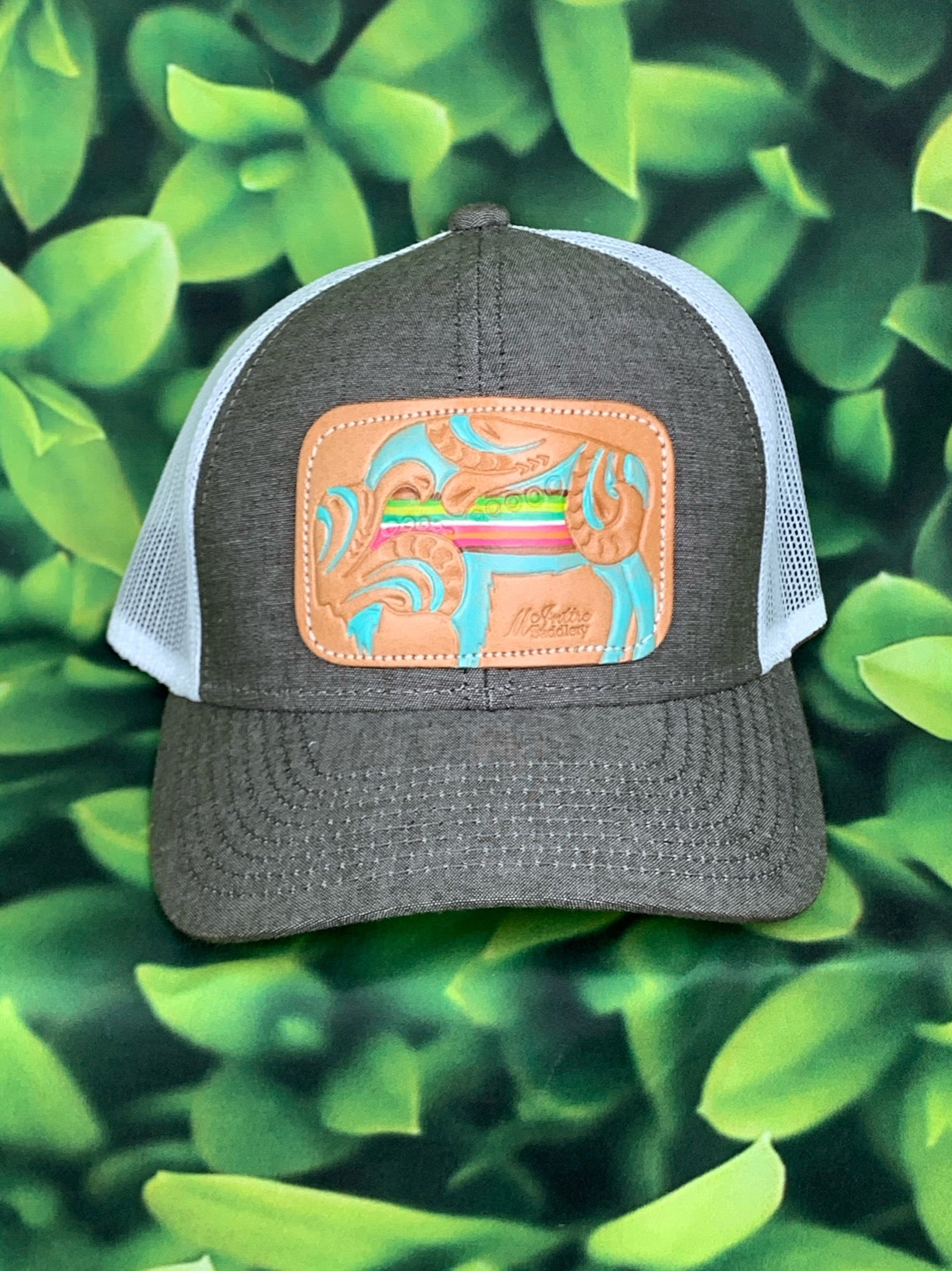Heather Brown Serape Buffalo Leather Patch MS Hat
